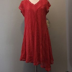 NWT One World red lace flutter sleeve dress M